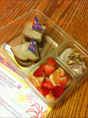 Leftover Meatloaf sandwich, Fruit Mix, Chocolate Yogurt with Granola Topping