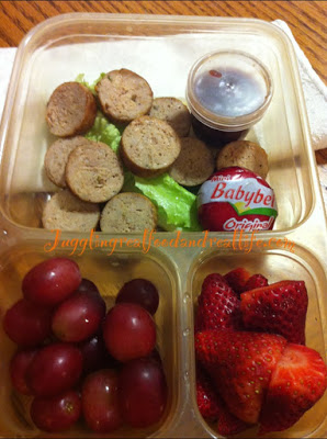 Chicken Sausage Medallions, Grapes and Strawberries