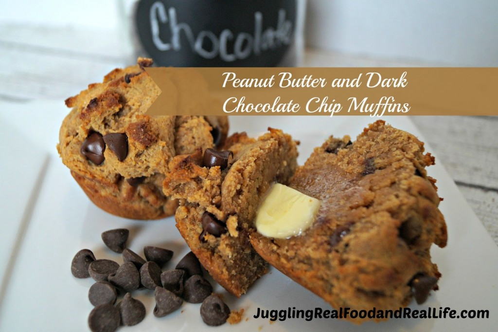 Peanut Butter and Dark Chocolate Chip Muffins