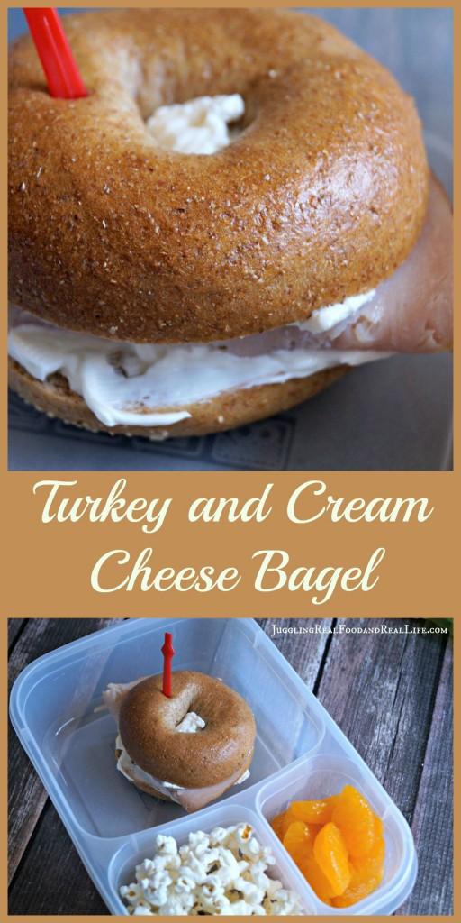Turkey and Cream cheese bagel sandwich