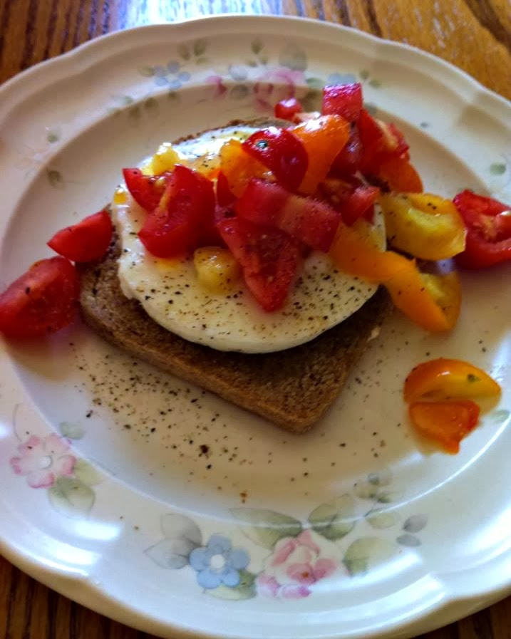 Veggies Over Poached Eggs and Wheat Toast